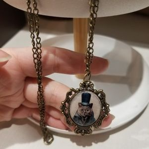 Necklace with Distinguished Cat Portait